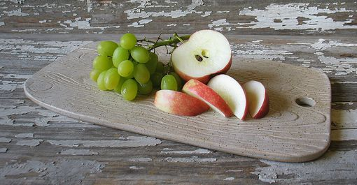 Custom Made Faux Bois Stoneware Cheese Board - Fruit & Cheese Service - Bread & Olive Oil