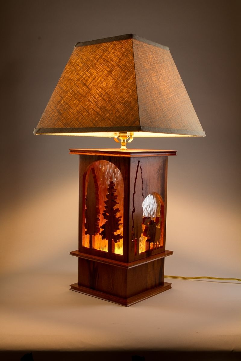 Hand Made Moose Lamp Tigerwood Carved 3 Way Table Lamp By Concepts N