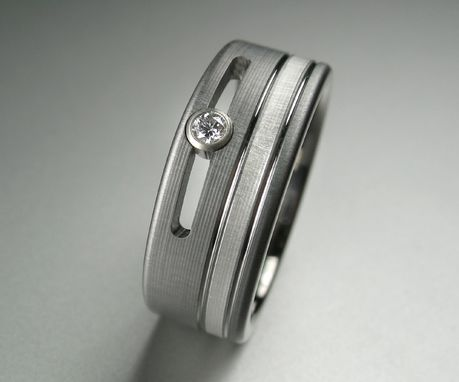 Custom Made Titanium Diamond And Silver Wedding Band
