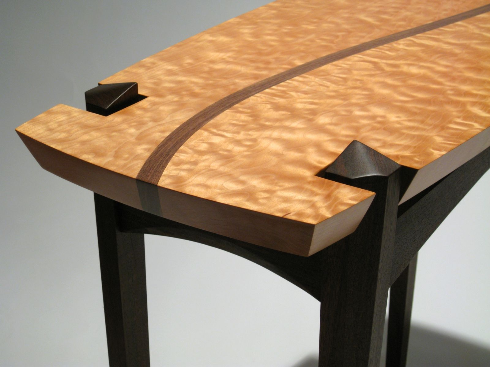 entryway tables hall tables accent tables  custom entry tables  - quilted maple and walnut entry table