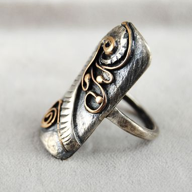 Custom Made Abstract Mixed Metal Long Ring