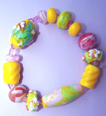 Custom Made Graceful Floral Yellow Lampwork Bead