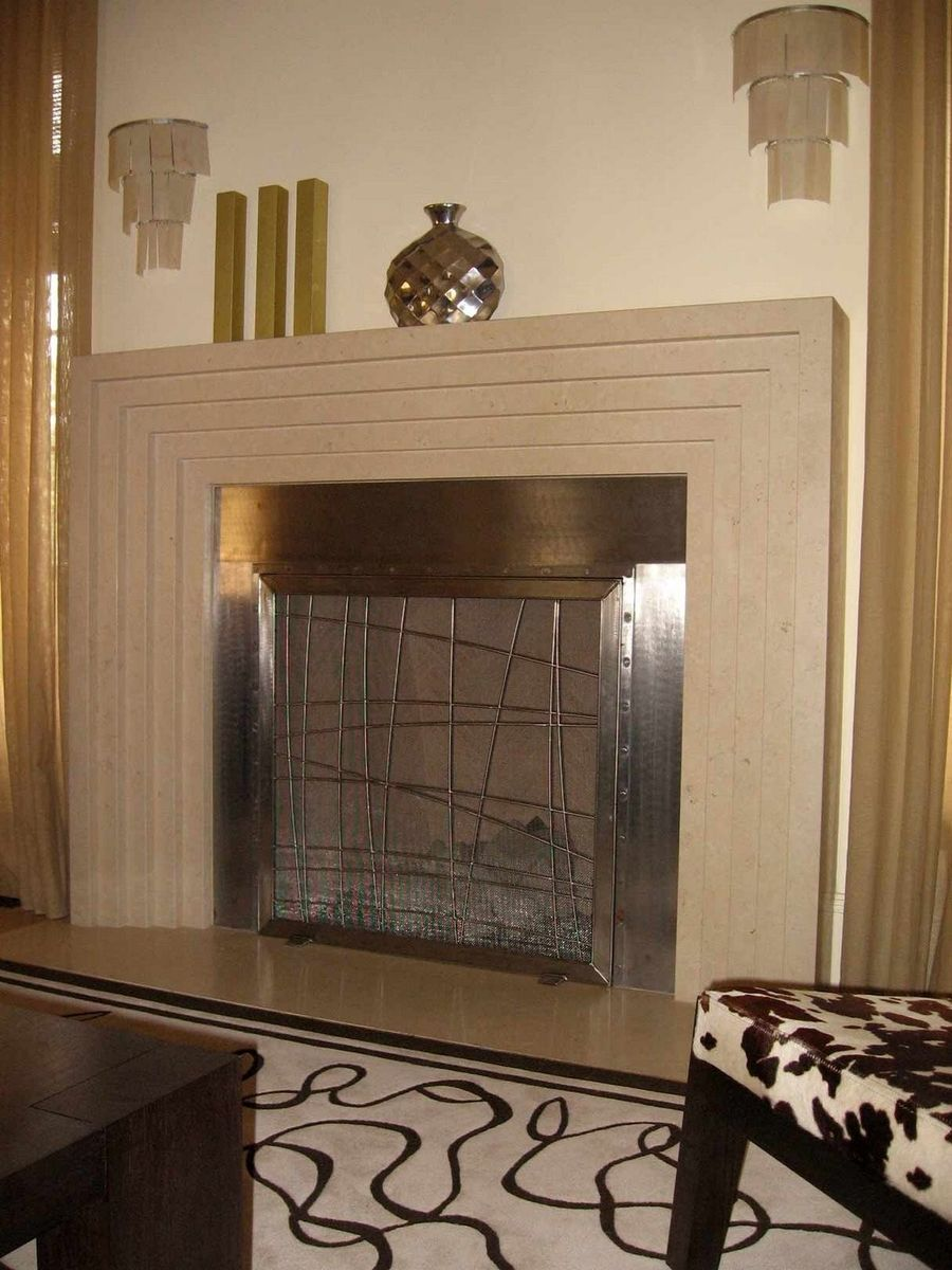 Custom Stainless Steel Fireplace Screen by Cranford Collection ...