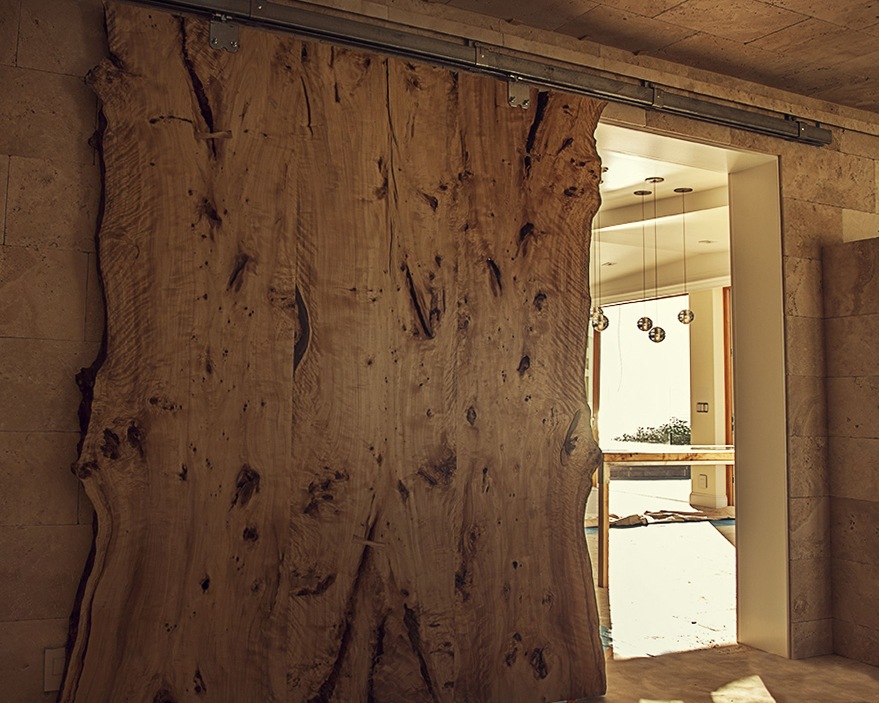 Custom Made Live Edge American Elm Slab Barn Door By