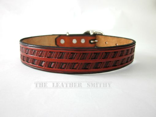Custom Made Hand Tooled Leather Dog Collar 1 Inch Wide With Silver Center Bar Buckle