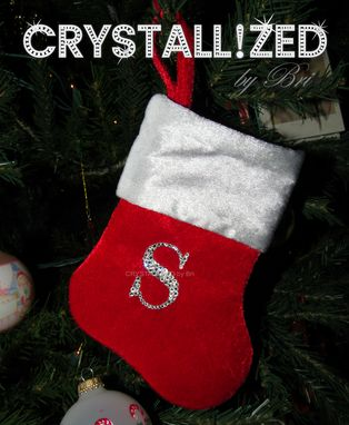 Custom Made Mini Crystallized Initial Christmas Stocking Decor Bling W/ Swarovski Crystals Bedazzled