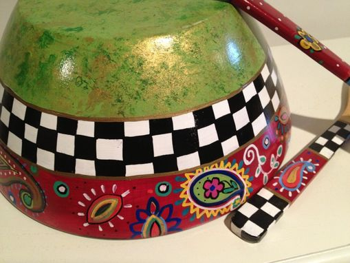 Custom Made Hand Painted Wooden Salad Bowl With Matching Utensils . Decorative Bowl