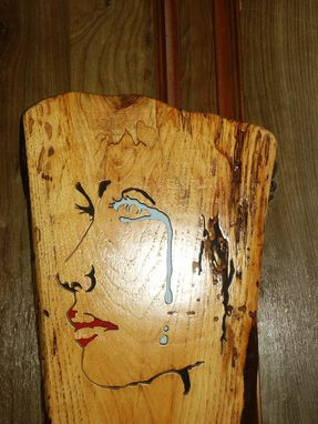 Custom Made Crying Girl Woodcraving On A Slab Of Spalted Birch