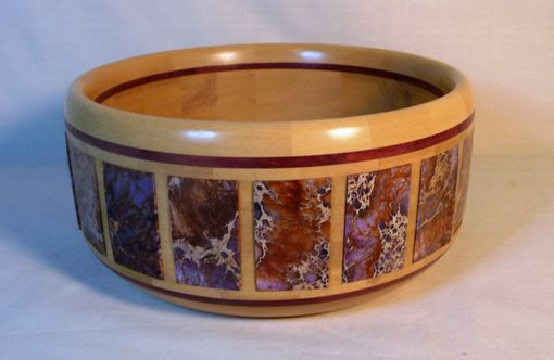 Custom Made Segmented Wooden Bowl With Stone Inlay