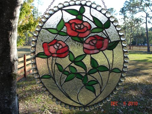 Custom Made Large Pink Rose Stained Glass Oval Cameo With Double Glue Chip Clear Glass