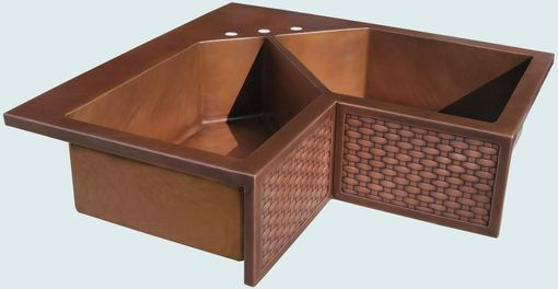 Custom Made Copper Sink With Woven Apron & 5-Sided Bowls