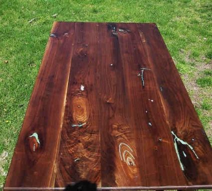 Custom Made Walnut Farm Table With Turquoise Inlay by