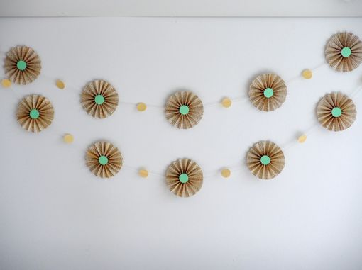 Custom Made 10ft Garland - Book Page Pin Wheel Rosettes, Mint Green & Gold