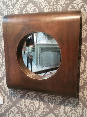 Custom Made Art Deco Industrial Wall Mirror - Brass And Steel