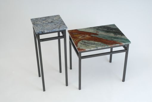 Custom Made End Tables  Steel Base With Natural Stone Tops