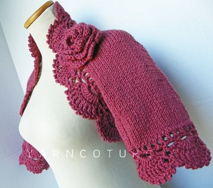 Custom Made The Lace Shrug In Dusty Rose With Rose Flower Brooch / On Sale Now