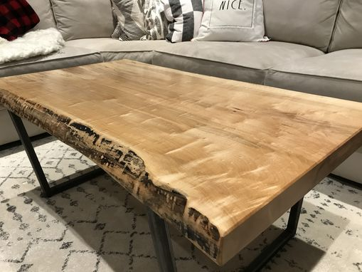Custom Made Live Edge Hard Maple Coffee Table With Raw Steel Base