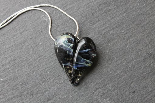 Custom Made Starry Night Glass Heart Necklace Glass Jewelry Pendant Lampwork Hand Blown Boro