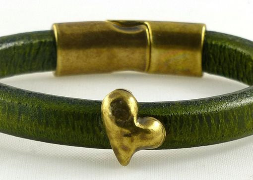 Custom Made Green Regaliz Leather Bracelet With Brass Heart
