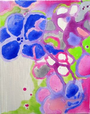 "Custom Made Original Abstract Flowers Valentines Day Gift Painting 8""X10"" Purple Pink Green Cream"