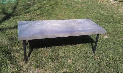 Custom Made Concrete Coated Coffee Table With Steel Pipe Legs