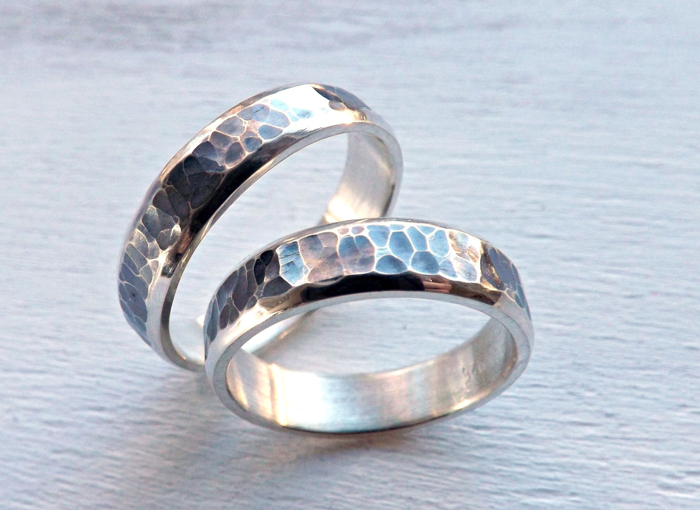 Custom Made Rustic Wedding Ring Set Silver Matching Promise Rings Partially Oxidized