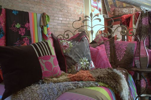 Custom Made Upholstered Vintage Furniture, Lighting Cushions In Chocolate Brown And Pink