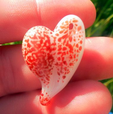 Custom Made Red And White Bespeckled Glass Heart Pendant