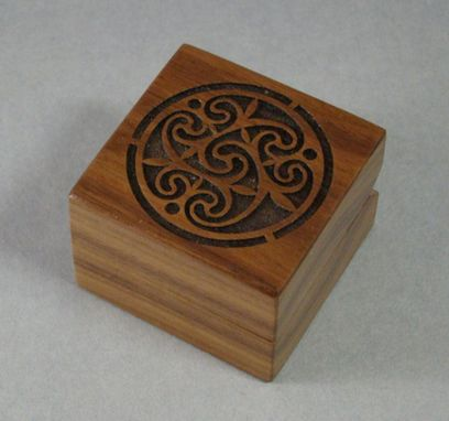 Custom Made Laser Engraved Engagement Ring Box With Celtic Design. Rb-14 Free Shipping And Engraving