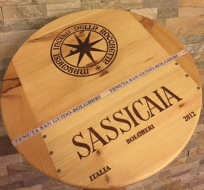 Custom Made Sassicaia Wine Crate Theme Lazy Susan 17 Inch Diameter With Bearings