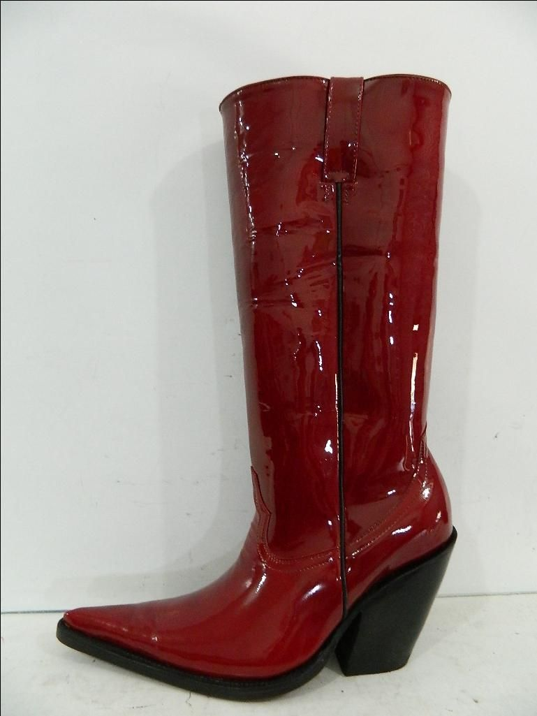 e6730a924bd Handmade Dark Red Patent Leather Extreme Sharp Toe Cowboy Boots 4 ...