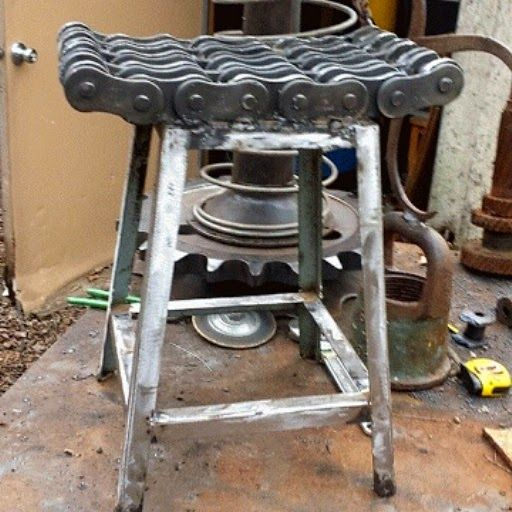 Admirable Custom Made Metal Stool Industrial Chic Outdoor Furniture Caraccident5 Cool Chair Designs And Ideas Caraccident5Info