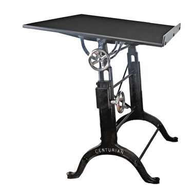 Custom Made Adjustable Black Table Base With Nickel Plated Castings