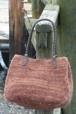 Custom Made Crayon Brown Felted Wool Bag With Braided Leather Handles