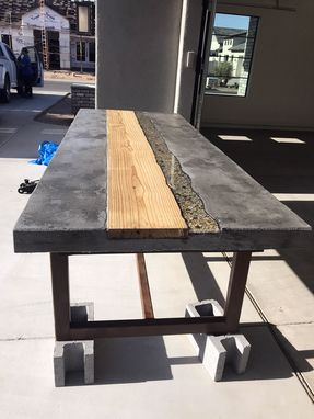 Custom Made Industrial Concrete Table With Hardwood Inlay