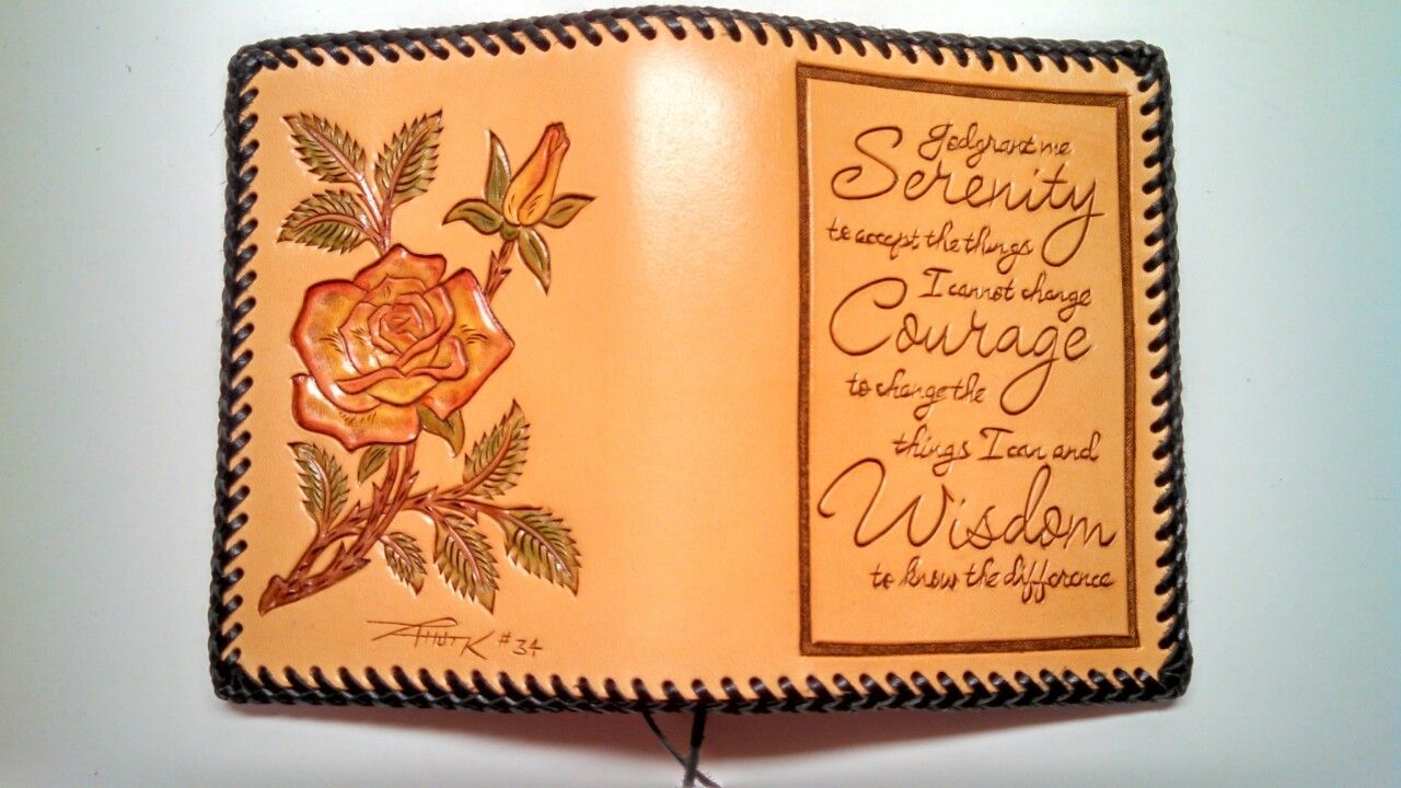 buy a custom made hand tooled rose leather dual book cover
