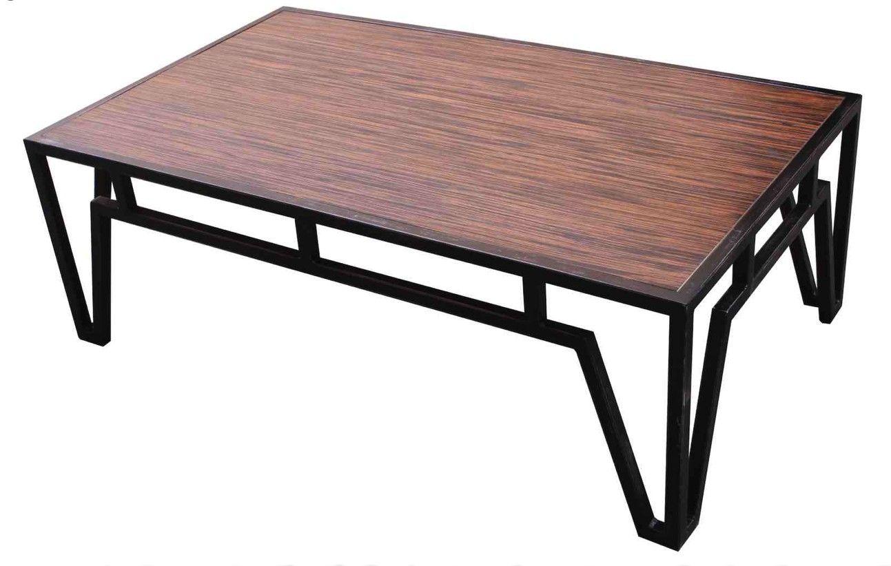 Handmade Ebonized Macassar Veneer Coffee Table With Metal Base by ...