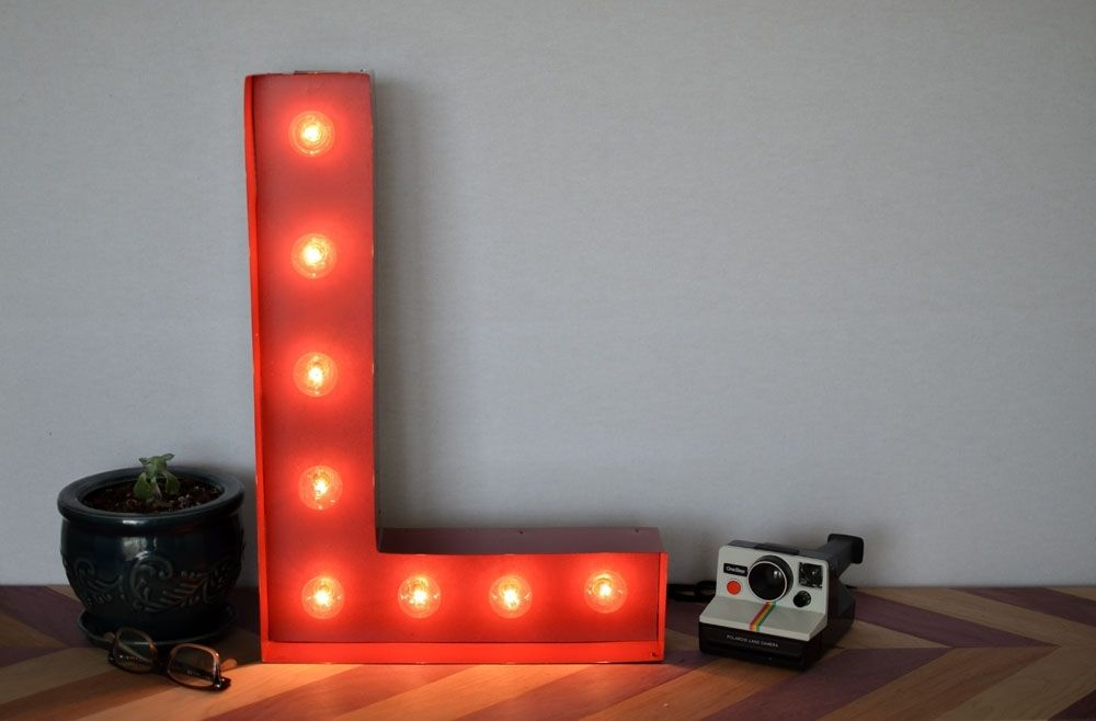 Hand Made Vintage Inspired Marquee Light Letter L By