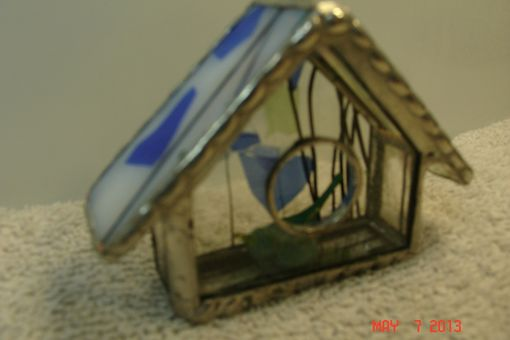 Custom Made Empty Nest Bird House Ornament In Blue / Green & White With A Green Bird