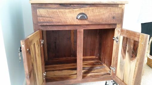 Custom Made Creative And Rustic Night Stand With Natural Walnut And Cherry.