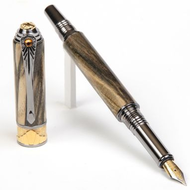 Custom Made Lanier Art Deco Fountain Pen - Spalted Hackberry - Af6w83