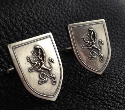 Custom Made Sterling Silver Cufflinks With Custom Heraldic Crest Of Lion Rampant