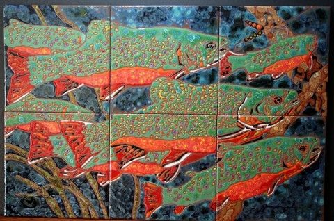 Custom Made Brook Trout - Decorative Mural Tiles