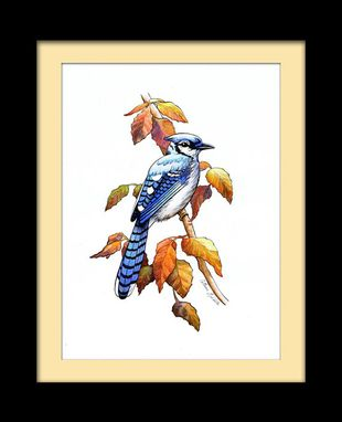 Custom Made Autumn Bluejay Watercolor Fine Art Print