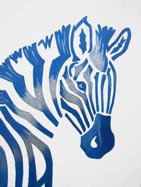 Custom Made Blue Zebra Safari Nursery Art Zoo Animal