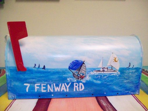 Custom Made Mailbox Hand Painted W Spinnaker Sailboats