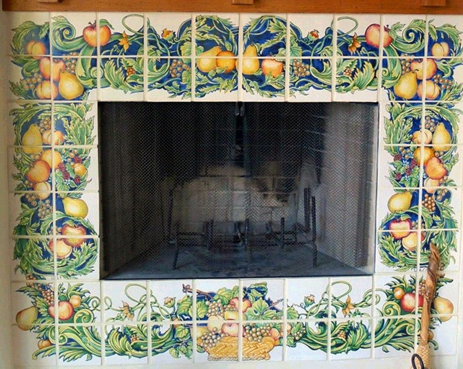 Custom Made Hand Painted Ceramic Tile Fireplace Surround