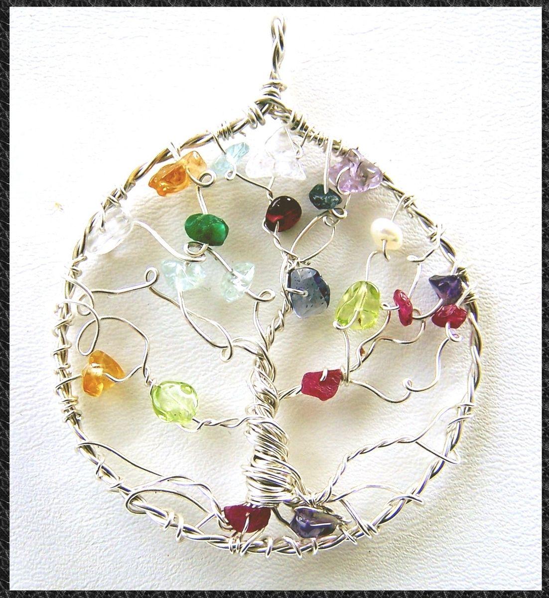 Hand Made Genealogy Family Tree Necklace Pendant Tree Of