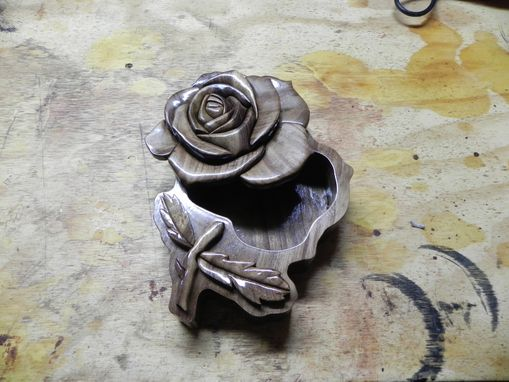 Custom Made Intarsia Rose Jewelry Box