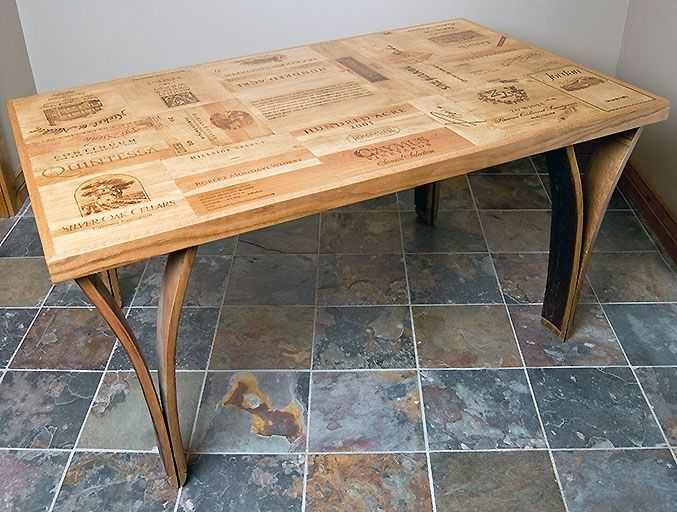 Custom wine crate dining room table by alpine wine design for Coffee table made out of wine crates